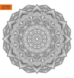 Outline mandala flower for coloring page vector