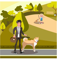 people having fun in a dog park vector image