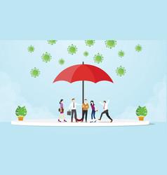 People under umbrella avoid corona virus vector