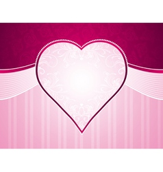 pink background with big heart and roses vector image