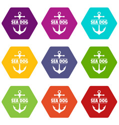 pirate anchor icons set 9 vector image