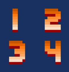 pixel retro numbers computer game design vector image