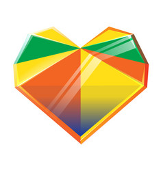 Polygonal multicolored crystal heart isolated on vector