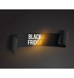 Realistic black friday sale ribbon banner template vector