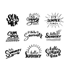 retro hand drawn elements for summer calligraphic vector image