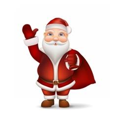 Santa with a bag behind back vector