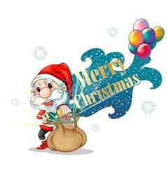santa with a brown bag full gifts vector image