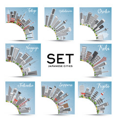 set 8 japanese cities with gray buildings vector image
