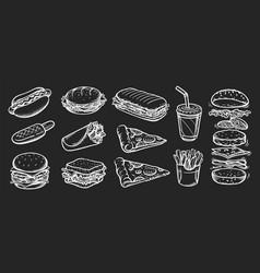 set fast food vector image