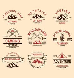 set mountain hiking emblems design element vector image