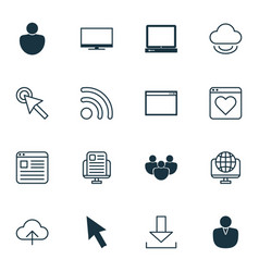 Set of 16 web icons includes virtual storage vector