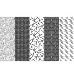 set of black and white mosaic textures vector image