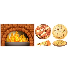 Set of pizza and stone oven vector