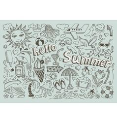 Set sketch design element summer theme vector