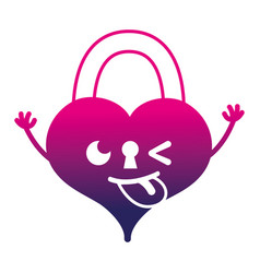 Silhouette funny heart padlock kawaii personage vector