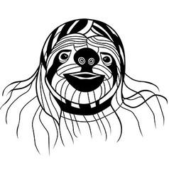 Sloth head animal for t-shirt Sketch tattoo design vector image