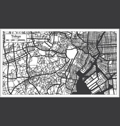 Tokyo japan city map in retro style outline map vector