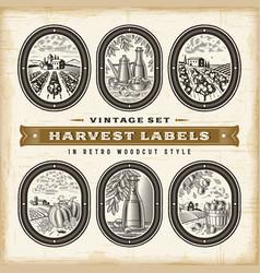 Vintage harvest labels set vector