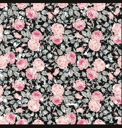Vintage seamless floral pattern with pink roses vector