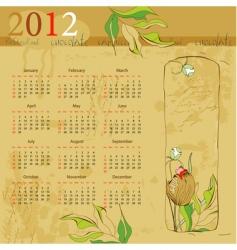 vintage template for calendar 2012 vector image