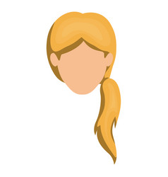 White background of faceless woman blonde with vector