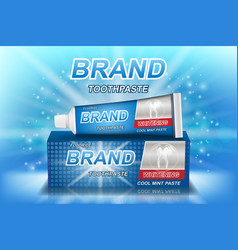Whitening toothpaste ads isolated on blue tooth vector