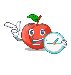 With clock nectarines cartoon with green leaves vector