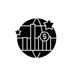 world economic growth black icon sign on vector image