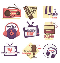 World video and audio media resources day isolated vector
