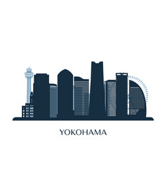 yokohama skyline monochrome silhouette vector image