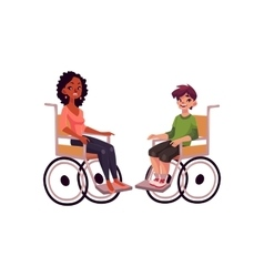 Young black woman and teenaged white boy in vector image
