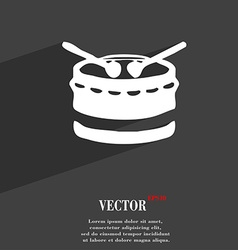 drum icon symbol Flat modern web design with long vector image