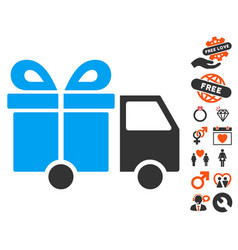 gift delivery van icon with lovely bonus vector image vector image