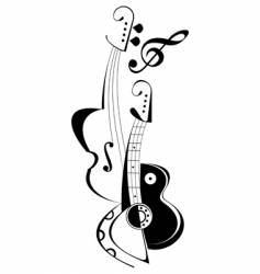 musical instruments tattoo vector image vector image