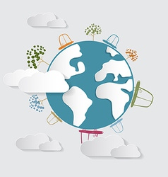 Paper Cars Clouds Trees on Earth Globe vector image