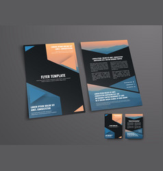 template of a black flyer with geometric shapes vector image