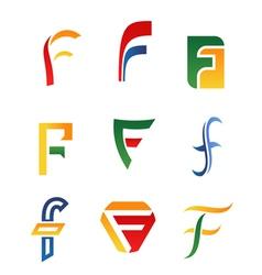 f alphabet symbols and icons vector image