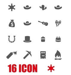 grey wild west icon set vector image