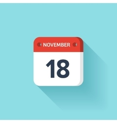 November 18 Isometric Calendar Icon With Shadow vector image
