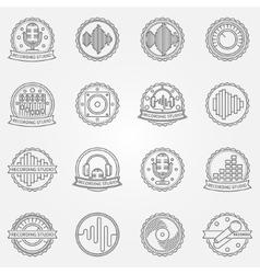 Recording studio labels set vector image