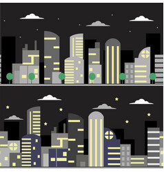 two banners with night city vector image vector image