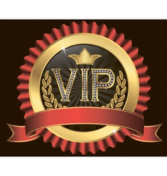 Vip golden label with diamonds and gold ribbons vector image