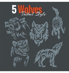 Wolves in tribal style set vector image
