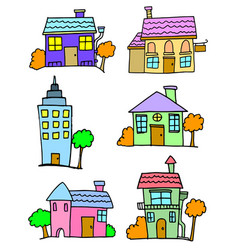 cartoon of house set colorful vector image
