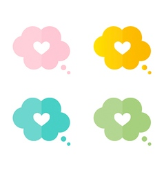 Heart in a thought cloud speech bubble vector image vector image