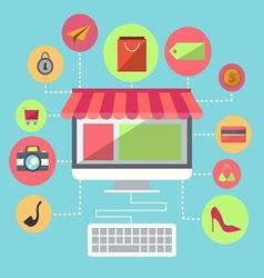 Online Shopping Flat Design Item vector image