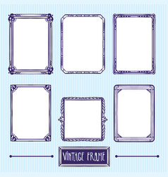 vintage frame hand drawing elements vector image vector image