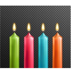 candles on transparent background realistic set vector image vector image