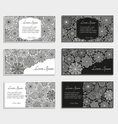 greeting cards or templates with stylized flowers vector image vector image