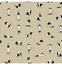 People practicing yoga seamless background for you vector image